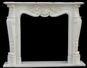 China White marble flower carving of fireplace frame on sale