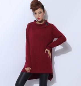 China Autumn Breathable Womens Turtleneck Sweaters Red Jersey Pullover on sale
