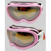 Dual Lens Adjustable Straps Basic Snowboard TPU Bicolor Frame UV400 Protection Custom Ski Goggles BP-1119 Pink