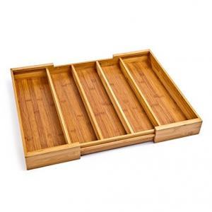 China Kitchen Adjustable Bamboo Storage Organizer Expandable Drawer Organizer Trays on sale