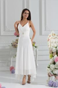 China Graceful Spaghetti Straps A Line Ivory Chiffon Bridesmaid Dress With Front Short Back Long on sale