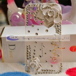 China Custom Crystal Bling Flower Mobile iPhone 4 Diamond Covers Cases on sale