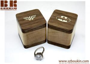 China PAIR Engagement ring box Batman Superman Wonder woman Wedding ring box Wood ring box Gifts Jewelry box on sale