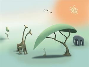 China Bamboo Fiber Interior Decorative Modern 3D Wall Panels Nature And Animals on sale
