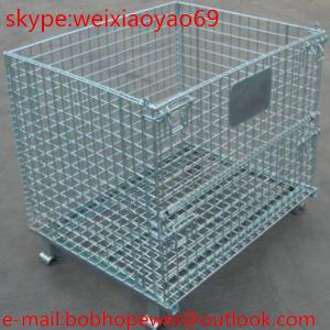 China Folding and structure steel  storage cage/security cage/pallet cage/steel stroage cabinets/metal storage sheds/metal bin on sale