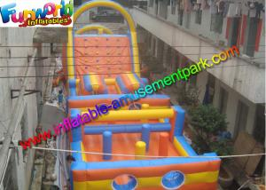 China Sewed Inflatable Outdoor Play Equipment With Climbing Wall For Fun on sale