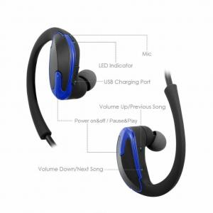 China blue Sweat proof HD Stereo Earphones Durable Cordless Headset   with Noise Cancelling Mic and 10 Hours Battery on sale