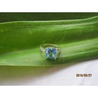 blue topaz cubic zironia ring,925 silver jewelry,gemstone ring