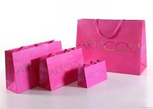 China Elegant Pink Printed Kraft Paper Shopping Bag , Kraft Paper Gift Bags on sale
