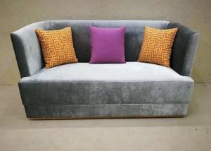 Dark Grey Fabric Hotel Lobby Sofa / Fashion Sofa Three Upholstered Seat