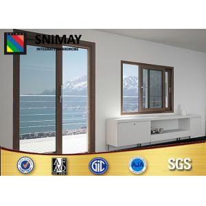 China Aluminum Profile Customized Wooden Windows Brown With Glass Door on sale