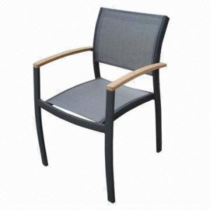 Outdoor stacking chair with teak arms aluminum frame and textilene outdoor stacking chair with teak arms aluminum frame and textilene garden restaurant workwithnaturefo