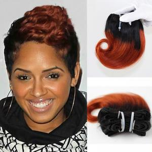 China Short Hair Indian Human Hair Ombre Color Snail Curl Hair Weaves on sale