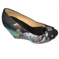 OEM / ODM 2012 Quality Designer Size 36-41 Ladies Autumn Black PU Peep Toe Wedge Sandals