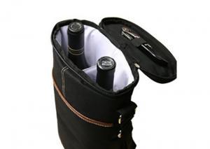 China Custom Black 2 Bottle Packing Wine Cooler Bag Polyester With Aluminum Foil on sale