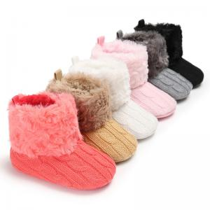 China 2019 winter Warm plush Knitting 0-18 months prewalker baby booties knit on sale
