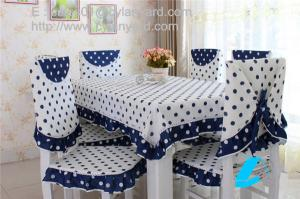 Dot Design Cotton Dining Tablecloth And Chair Cover Set