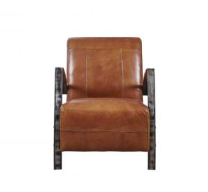 China Light Brown Tan Leather Accent Chair, Leather Relaxing Chair Durable Iron Armrest on sale
