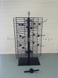 China 2 Way Rotating Metal Wire Display Shelving Glove Display Stand With Metal Hooks on sale