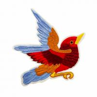 China Embroidered patches, Printed bird pattern,Polyester yarn and fabric,Multiple color on sale