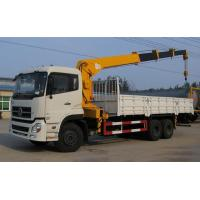 Dongfeng 6x4 Used Crane Truck White Body Yellow Lazy Arm For Hang On Heavy Goods