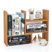 Adjustable Desktop Display Shelf Rack Bookshelf for Office Kitchen Bamboo Home Furniture