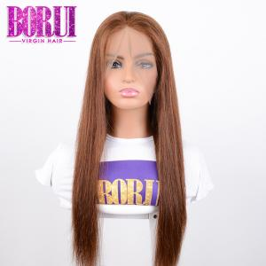 China Unprocessed Colored Lace Wig , #4 Bob Straight Lace Frontal Wig Dyed Bleach on sale
