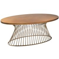 Soft Wire Brushed Distressing Solid Wood Coffee Table , Oak Occasional Tables