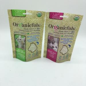 China Waterproof Zipper Cat Food Green Bag , Biodegradable Animal Feed Bags on sale