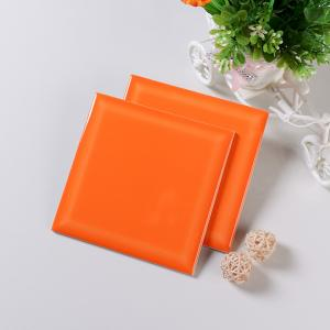 China Smooth Glaze 6x6 Ceramic Wall Tile Bathroom Shower Tile Acid Resistant Orange on sale