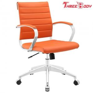 China Comfortable Modern Home Furniture Aluminum Frame Orange Mid Back Executive Office Chair on sale