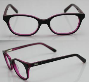 China Rose Red Children Acetate Optical Eyeglass Frames for Oval Face on sale