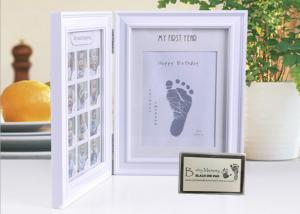 China Wood Safe Baby Hand And Footprint Photo Frame Kit Non Toxic Ink Pad For Girls / Boys on sale