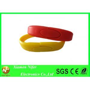 China USB personnalisé rouge ou jaune d'OEM/ODM conduit des bracelets de bracelet/silicone on sale
