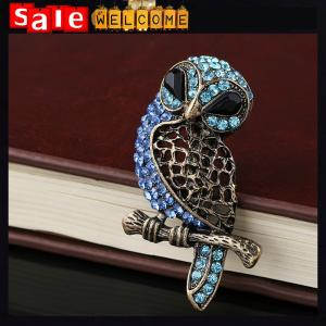 China Large Bird Owls Vintage Brooches Antiques Bouquet Owl,Blue Pin Up Designer Wedded Broach on sale