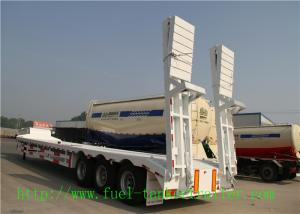China Tri - Axle 60 Ton Low Flatbed Semi Trailer / Low Bed Truck Trailer For Excavator Transportation on sale