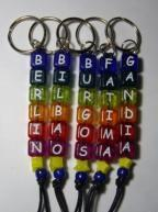 China Alphabet Acrylic Beads Keychain on sale