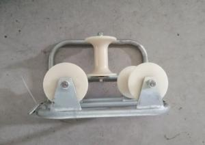 China Heavy Duty Galvanized Triple Corner Cable Roller Cable Guide Pulley Steel Frame on sale