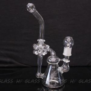 "China New double recycler glass water pipe glass pipe glass bong 10"" size with 18.8mm joint on sale"