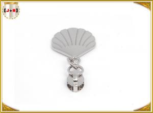 China Delicate Design Metal Zipper Pulls Replace Zipper Slider Silver Shell Shape on sale