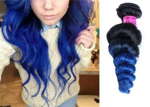 China 10 - 32 Body Wave Brazilian Weaves Hair Extensions , Black To Blue Grade 7A Brazilian Hair on sale