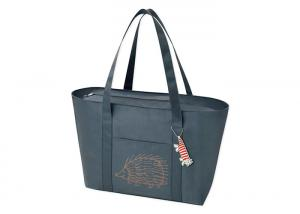China Dark Grey Canvas Tote Bags 420D Polyester Fabri Convenient Single Shoulder Bag on sale