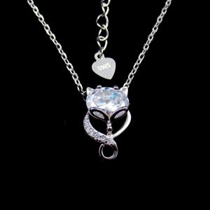 China Zircon Stone Strling Silver Necklace Fox Style Animal With Shining / 925 Silver Jewelry on sale
