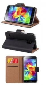 China Black Tan Leather Samsung Galaxy S4 Phone Covers , Flip Wallet Stand Phone Case on sale