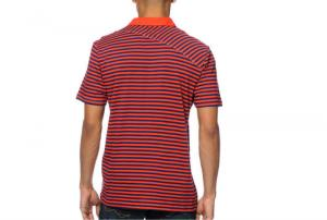 China Black and Red Striped Polo T Shirts Short Sleeve Polo Shirts Custom Made on sale