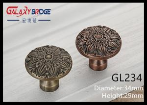 China Light Coffee Furniture Handles And Knobs Round ISO Certificated European Zinc Alloy Knob on sale