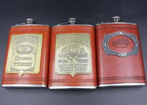 China Antique 9 Oz Hip Flask Business Gift Set Leather Patch Pu Ss Wine Bottle Set on sale