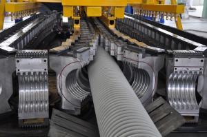 China PE / PP Single Wall Corrugated Pipe Machine , Corrugated Pipe Extrusion Machinery on sale