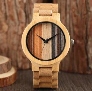 China Valentines Day Gift Bamboo Wooden Watch With Bamboo Strap And Quartz Movement on sale
