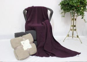 China Fresh Violet Personalised Knitted Wool Blanket Portable Skin Friendly on sale